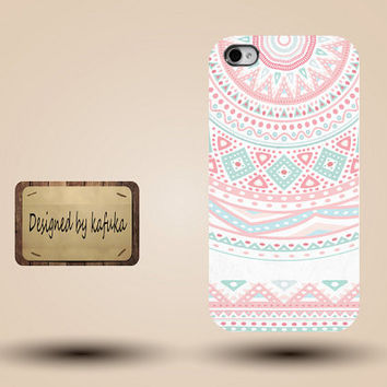 iphone case, i phone 4 4s 5 5s 5c case, iphone4 iphone4s iphone5 case, plastic rubber silicone cases cover, retro  ethnic pink   p1178
