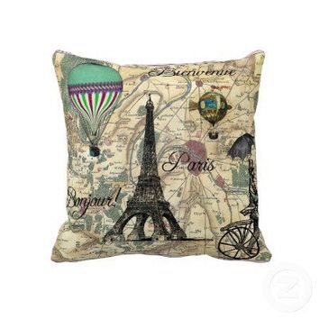 Bonjour De Paris Vintage Map Decorative Pillow from Zazzle.com