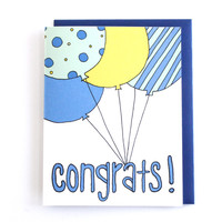 New Baby Boy Shower Card - Baby Boy Balloon Greeting Card by Yellow Daisy Paper Co.