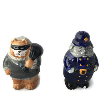 Vintage Clay Art Cartoon Dog Cop and Cat Burglar, Salt and Pepper Shakers