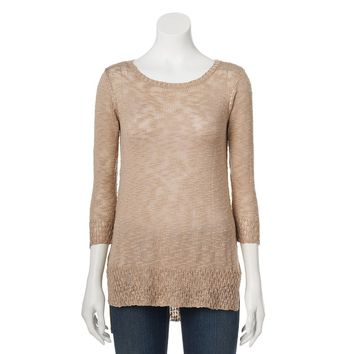 Sag Harbor Drop-Tail Hem Slubbed Sweater - Petite, Size: