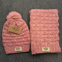 """Gucci"" Fashion Casual Trending Women Winter Knit Warmer Hat Cap Scarf Set Pink G"