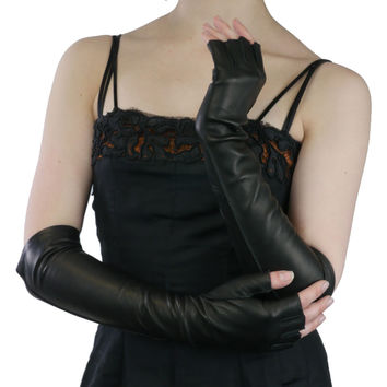 Elbow Length Italian Leather Gloves. Half Fingers, Black, Silk Lined, 12-BT