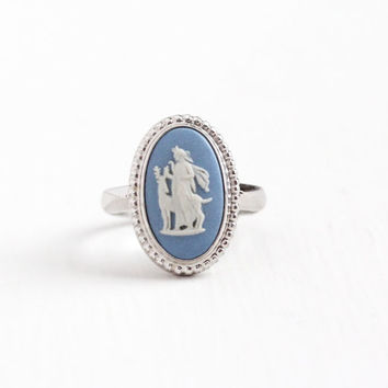 Vintage Sterling Silver Diana & Stag Wedgwood Cameo Ring - Retro Size 6 1/2 English Blue Jasperware London Goddess of Hunt Mythology Jewelry