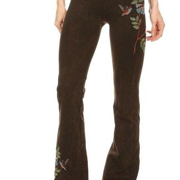 Hummingbird Embroidery Mineral Yoga Pants