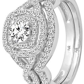 1.00 Carat (ctw) 14K Gold White Diamond Swirl Bridal Halo Engagement Ring Set 1 CT