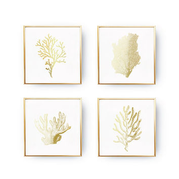 SET of 4 Prints, Nautical Prints, Gold Coral Reef, Coral Print, Nautical Decor, Real Gold Foil, Modern Wall Art, Ocean Print, Ocean Wall Art