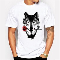 Summer Men's O-neck rose wolf cotton clothing T-shirt printing