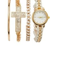 WOVEN WATCH & BRACELETS, 4-PIECE SET