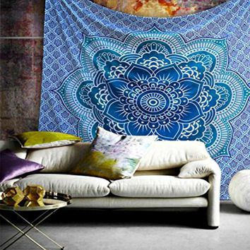 Blue Lotus Flower Boho Queen Wall Hanging Tapestry