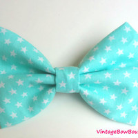 Mint aqua and white bow hair clip - bow barrette - big bow - star - feminine - kawaii