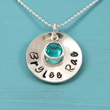 December birthstone necklace, sterling silver, Baby name, 3/4 inch pendant, Swarovski crystal, hand stamped, new baby gift for new mom