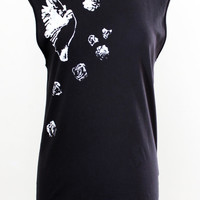 Cut by CutandChicVintage Free Bird and Roses Hand-Painted Muscle Tee - One Size Fits All