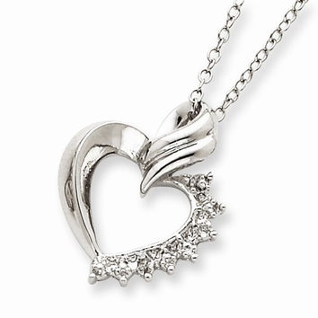 Sterling Silver Heart Diamond Necklace