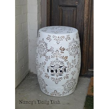 Damask Toile Ceramic English Garden Stool / Seat or Side Table White & Tan