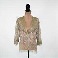 Womens Jacket Lace Top Romantic Boho Clothing Green Gold Metallic Dressy Cocktail Jacket Gypsy Sequins Boho Jacket Vintage Clothing Women