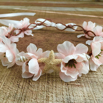 Beach Bridal Crown,Starfish Crown,Nautical Bride,Beach Bride,Mermaid Crown,Destination Wedding,Starfish Hair Accessory,Music Festivals
