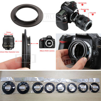 Aluminum Camera Macro Lens Reverse Adapter Ring for Nikon AI to 49mm 52mm 55mm 58mm 62mm 67mm 72mm 77mm Thread Mount