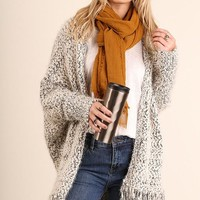Batwing Fringe Cardigan in Black/White