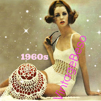 2 PATTERNS • PdF Pattern • Bathing Suit Crochet Pattern • Hat Cover PAttERN • 1960s Sexy Swimsuit • Maillot Vintage One Piece Swimwear