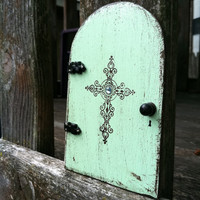 FAIRY DOOR,distressed green/blue cross