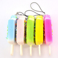 Squishy Sprinkles Popsicle Phone Straps Soft Bread Scented Key Chain Kids EW