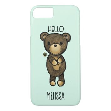 Cute Brown Bear Holding a Yellow Flower Custom iPhone 8/7 Case