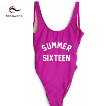 Tengweng  Summer Sexy Letter Print High Cut One Piece Backless Swimsuit Women Swimwear Bathing Suit Beach Bodysuit monokini