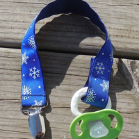Snowflakes Ribbon, Snowflake Pacifier Holder, Binky Clip, Pacifier Clip or Toy Clip