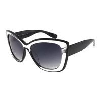 Womens Oversize Two Tone Cateye Sunglasses