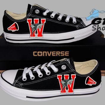 hand painted converse lo sumner valley wolfpack football and cheer handpainted shoe