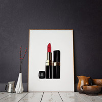 Fashion Decro Lipstick Print Modern Home Décor Fashion Illustration Fashion Print Watercolor artwork Printable Quote Wall Art Fashionista