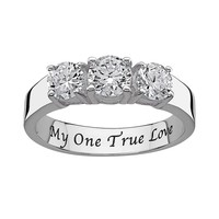 Sweet Sentiments Cubic Zirconia Engagement Ring in Sterling Silver (Grey)