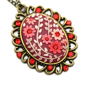 "Floral Pendant Necklace ""LOVE"" Polymer Clay Embroidery Red Pink Burgundy Swarowski Crystals Feminine Necklace Red Wedding Bridal Pendant"