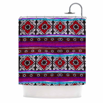 "S Seema Z ""SINDHI AJRAK"" Purple Pattern Shower Curtain"