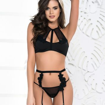 Embroidered Halter Top And Garter Set