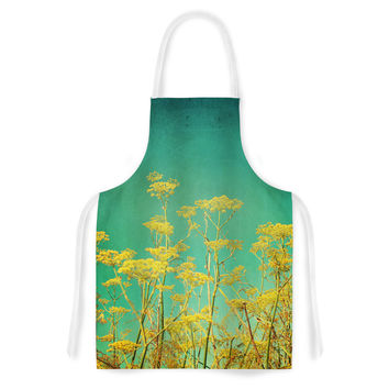 "Sylvia Cook ""Yellow Flowers"" Teal Sky Artistic Apron"