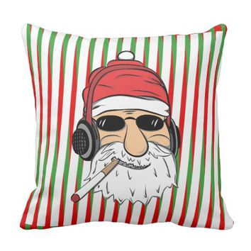 Funky Santa With Cigarette and Stripes Throw Pillow