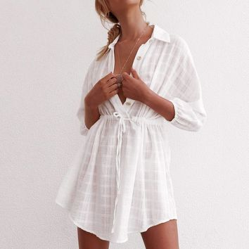Casual White Plaid Shirt Dress Women Half Sleeve Pareo Cover-up Beach Sundress Casual Tunic Sexy Cotton Dresses