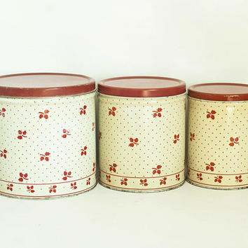 Vintage Aged Red Polka Dot Canister Set, Empeco Nesting Kitchen Containers, Printed Tin Dry Good Storage, Farmhouse Kitchen