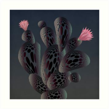 'Moonlight Cactus' Art Print by angelo cerantola