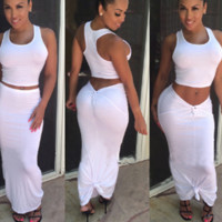 HOT WHITE TWO PIECE DRESS