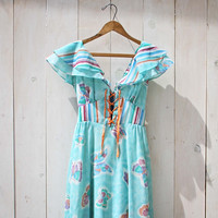 Vintage 70's Mint Butterfly Maxi Dress