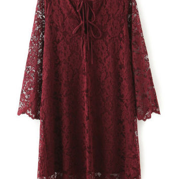 Burgundy Floral Lace Shift Dress