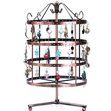 One Earring Holder Rotating 4 Level Metal Jewelry Holder, Bronze