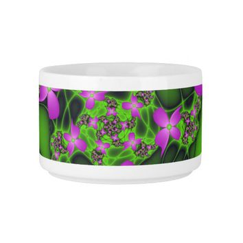 Modern Abstract Neon Pink Green Fractal Flowers Bowl