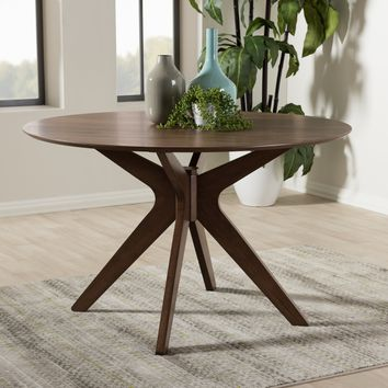 Baxton Studio Monte Mid-Century Modern Walnut Wood 47-Inch Round Dining Table Set of 1