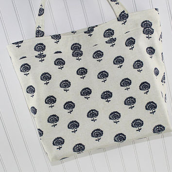 Navy Blue Thistle Print Large Tote Bag, Large Farmers Market Bag, MK151