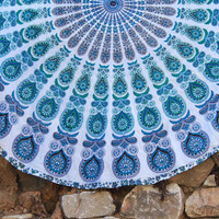 Shopnelo Home Special   Indian Mandala Round Roundie Beach Throw Tapestry Hippy Boho Gypsy Cotton Tablecloth Beach Towel  Free shipping