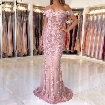 Off Shoulder Arabic Long Turkish Pink Lace Beaded Mermaid Formal Evening Prom Gown Dress Lebanon Abiye Party Gowns DressesLA6560